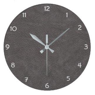 Reloj Redondo Grande Imitación de cuero gris