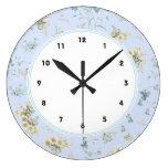Reloj Redondo Grande Impresión floral azul y blanca del vintage