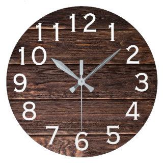 Reloj Redondo Grande Impresión horizontal de madera de mirada auténtica