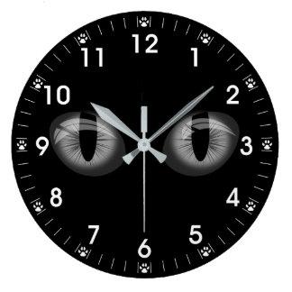 Reloj Redondo Grande Impresiones grises de la pata de los ojos de gatos