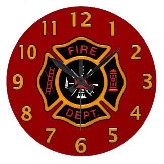 Reloj Redondo Grande Insignia del cuerpo de bomberos