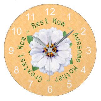 Reloj Redondo Grande Jardín del Zinnia blanco del día de madre