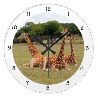 Reloj Redondo Grande Jirafa tres en la charla fósil de la pared del