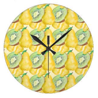 Reloj Redondo Grande Kiwi y pera de la acuarela