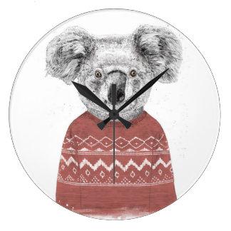 Reloj Redondo Grande Koala del invierno (roja)