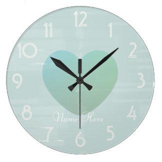 Reloj Redondo Grande La acuarela grande bonita de la menta del corazón