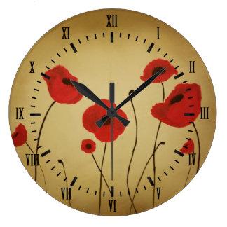 Reloj Redondo Grande La amapola roja florece números romanos negros
