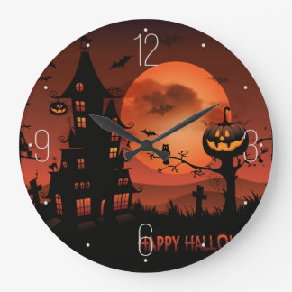 Reloj Redondo Grande La calabaza de las escenas del cementerio de