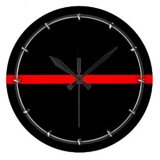 Reloj Redondo Grande La línea roja fina simbólica decoración en a