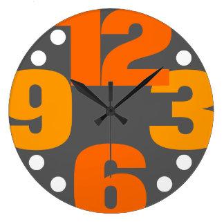 Reloj Redondo Grande La primera línea - naranja