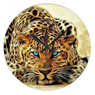 Reloj Redondo Grande Leopardo del ojo azul