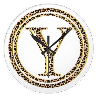 Reloj Redondo Grande Leopardo Y