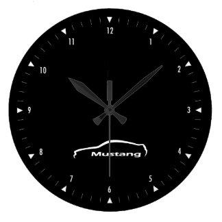 Reloj Redondo Grande Logotipo de la pincelada del mustango