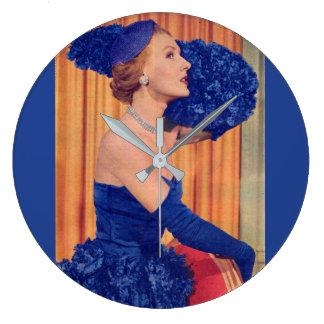 Reloj Redondo Grande los años 50 hermosos en azul