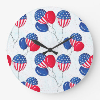 Reloj Redondo Grande Los E.E.U.U. bandera globo americano 4 de julio