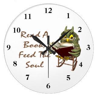 Reloj Redondo Grande Los libros alimentan a alma el búho sabio
