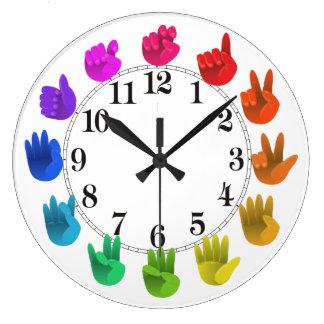 Reloj Redondo Grande Luz de la rueda de color del arco iris del