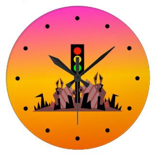 Reloj Redondo Grande Luz de parada con los conejitos, fondo soñador