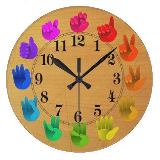 Reloj Redondo Grande Madera de la rueda de color del arco iris del
