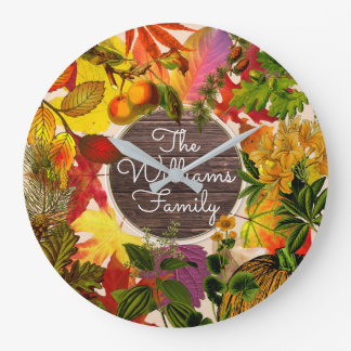 Reloj Redondo Grande Madera del vintage del collage de las hojas de