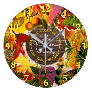 Reloj Redondo Grande Madera del vintage del monograma de las hojas de