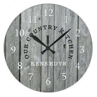 Reloj Redondo Grande Madera rústica del país del apellido