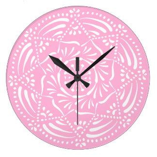 Reloj Redondo Grande Mandala color de rosa