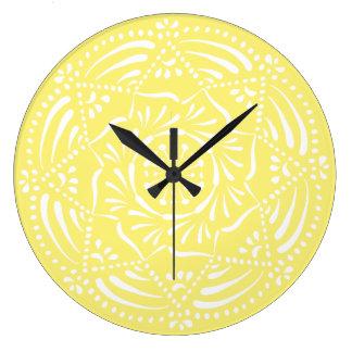 Reloj Redondo Grande Mandala de la fruta de estrella