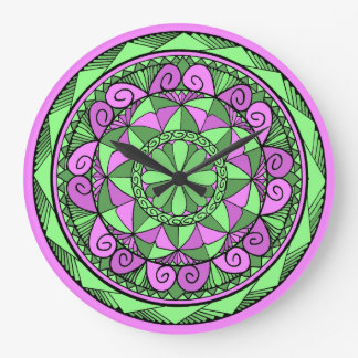 Reloj Redondo Grande Mandala del añil