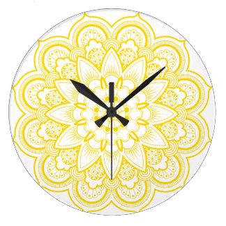 Reloj Redondo Grande Mandala en oro y blanco