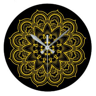 Reloj Redondo Grande Mandala en oro y negro