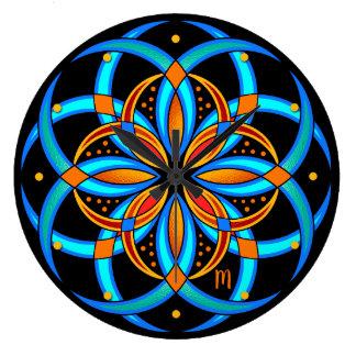 Reloj Redondo Grande mandala geométrica del arte digital anaranjado de