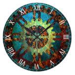 Reloj Redondo Grande Manillar de roscas industriales Steampunk