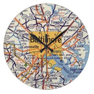 Reloj Redondo Grande Mapa de cosecha de Baltimore MD