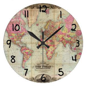 Reloj Redondo Grande Mapa del mundo antiguo de Juan Colton, circa 1854