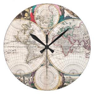 Reloj Redondo Grande Mapa del mundo antiguo del Doble-Hemisferio