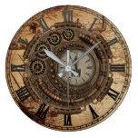 Reloj Redondo Grande Mapa industrial del vintage de la maquinaria del