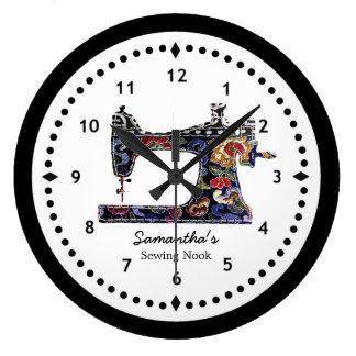 Reloj Redondo Grande Máquina de coser de la tapicería floral