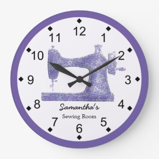 Reloj Redondo Grande Máquina de coser del damasco púrpura