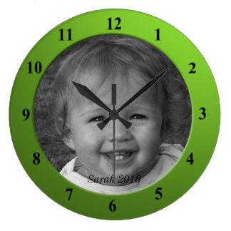 Reloj Redondo Grande Marco de encargo personal de la verde lima de la