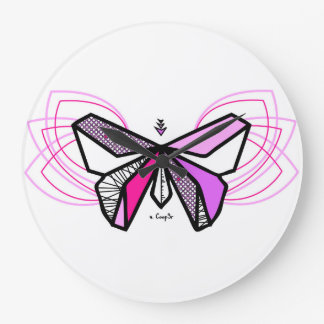 Reloj Redondo Grande Mariposa origami