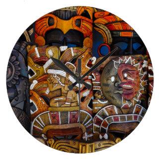 Reloj Redondo Grande Máscaras de madera mayas en México