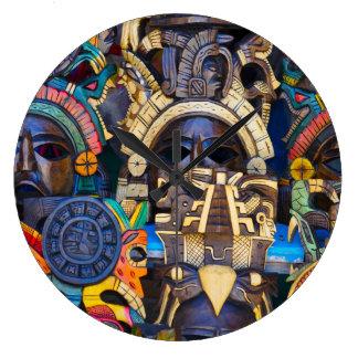 Reloj Redondo Grande Máscaras de madera mayas para la venta