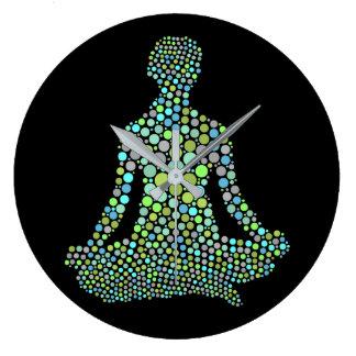 Reloj Redondo Grande Media Lotue actitud de la yoga de Namaste