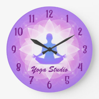 Reloj Redondo Grande Meditación de Lotus de la yoga del zen