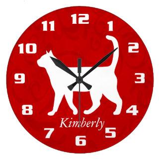 Reloj Redondo Grande Mi personalizado lindo del gato añade al mascota