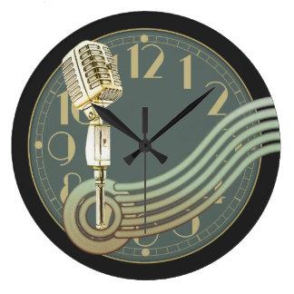 Reloj Redondo Grande Micrófono del vintage