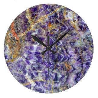 Reloj Redondo Grande mineral de piedra amethyst de la gema de la roca
