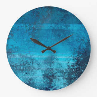 Reloj Redondo Grande Mirada azul del Grunge del modelo abstracto