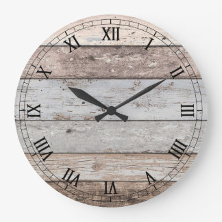 Reloj Redondo Grande Mirada de madera reclamada de moda